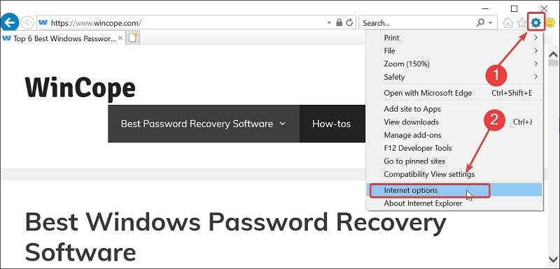 Open Internet Options in Windows 10 from Internet Explorer
