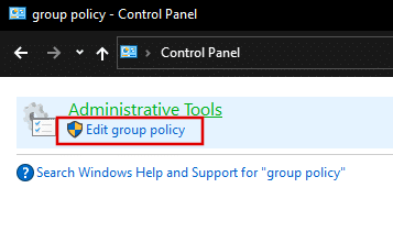 Open Local Group Policy Editor in Windows 10 via Control Panel