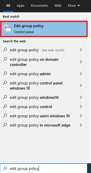 Open Local Group Policy Editor in Windows 10 via Search