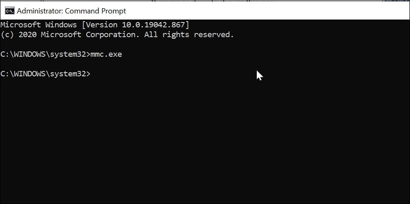 Open Microsoft Management Console in Windows 10 via Command Prompt