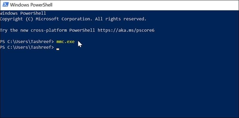 Open Microsoft Management Console in Windows 10 via Windows PowerShell
