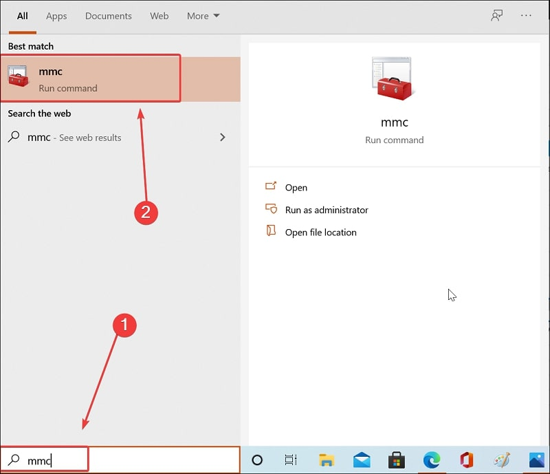 Open Microsoft Management Console use Windows 10 Search