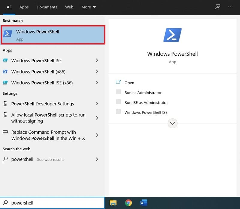 How to Open PowerShell in Windows 10 by Searching