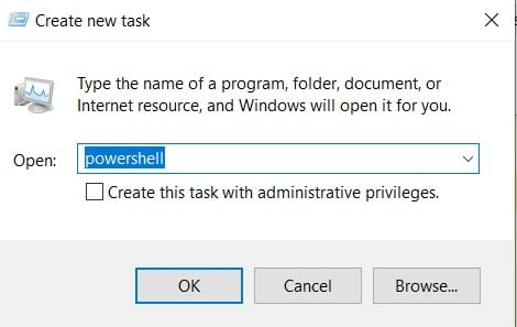 How to Open PowerShell in Windows 10 from Task Manager