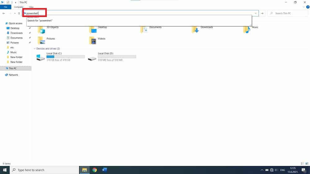 How to Open PowerShell in Windows 10 in This PC