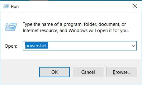 How to Open PowerShell in Windows 10 via the Run Command Box