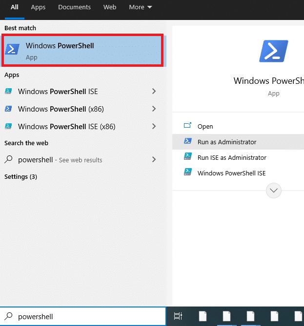 Open Powershell in Windows 10