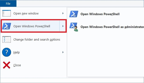 Open Powershell in File tab Windows 10