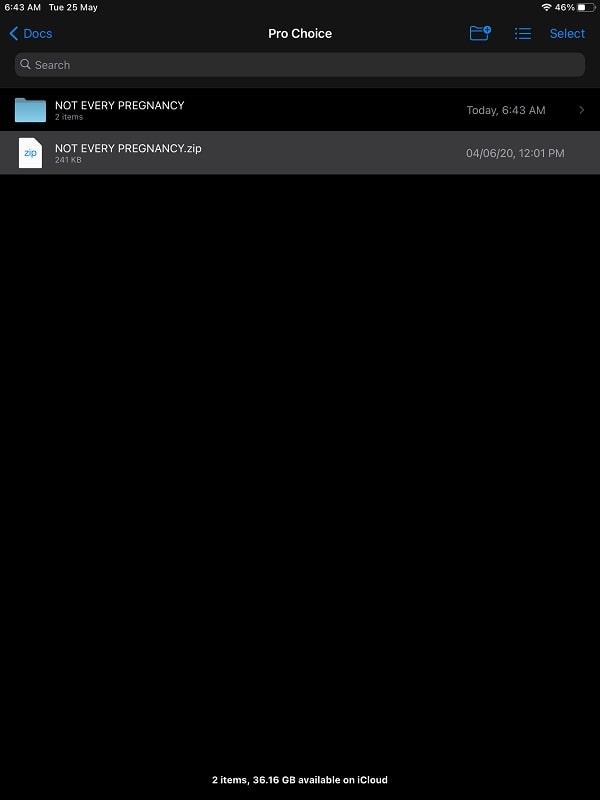 Open the ZIP file in iPhone