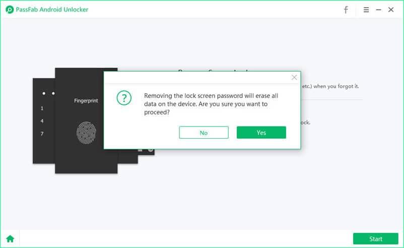 PassFab Android Unlocker - Confirm erase all data