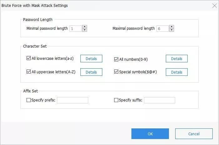 PassFab for PDF - brute force with mask attack