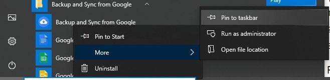 Pin Shortcuts to Taskbar in Windows 10 from the Start Menu