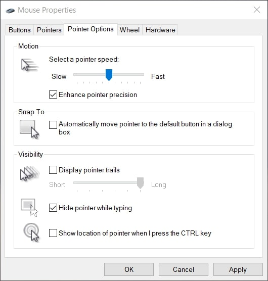 The Pointer Options tab in Windows 10