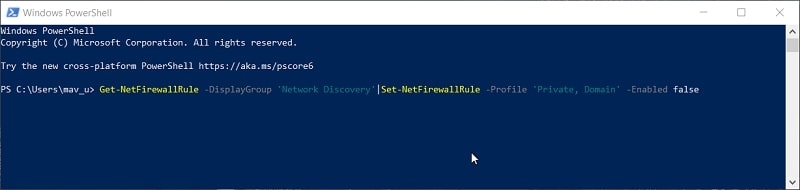 The disable Network Discovery PowerShell command in Windows 10