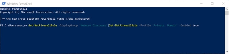 The enable Network Discovery PowerShell command in Windows 10