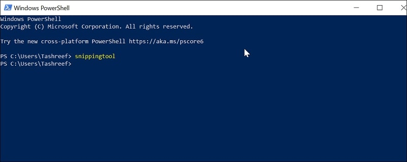 Open Snipping Tool in Windows 10 via Windows PowerShell