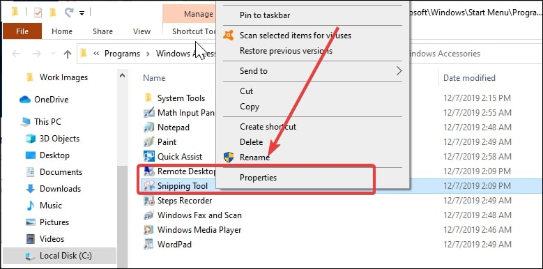 Snipping Tool Properties in Windows 10
