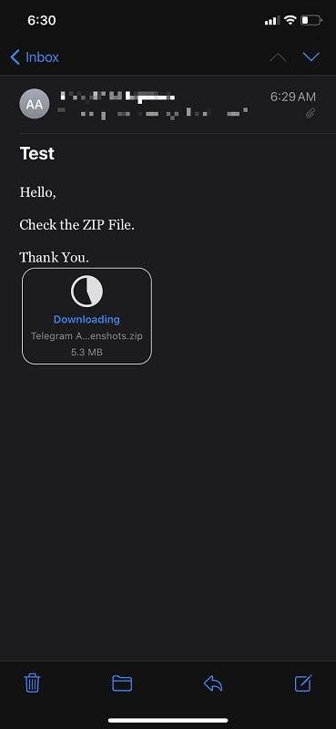 Received a ZIP file as an attachment in iPhone Mail App