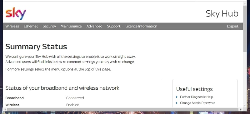 A Sky router firmware page in Windows 10