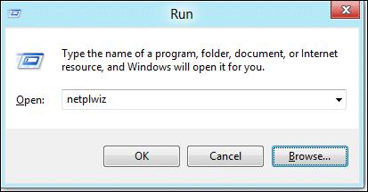 Run netplwiz in Windows 8