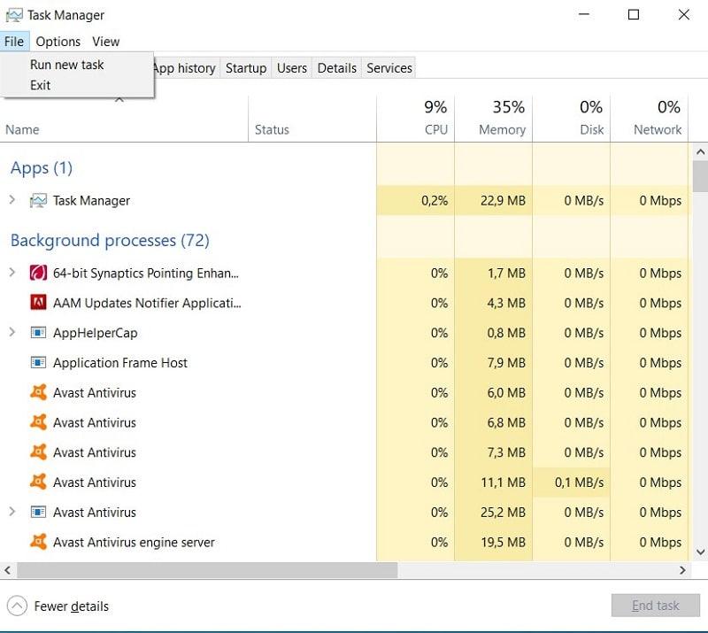 Run New Task in Task Manager Windows 10