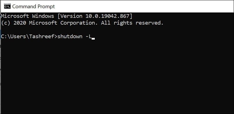 Log out of Windows 10 via Command Prompt