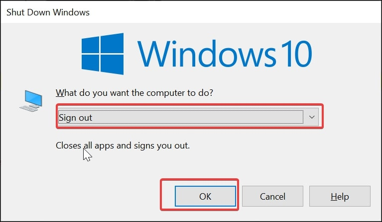 Sign out of Windows 10 via the Shut Down Windows