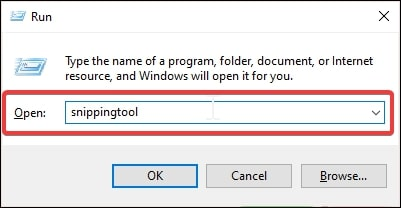 Open Snipping Tool in Windows 10 using the Run Command Window