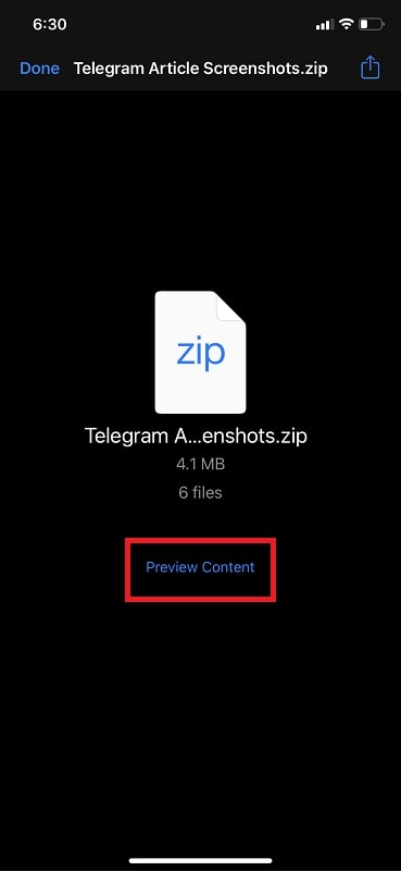 Tap on the ZIP file Preview Content button in iPhone Mail App