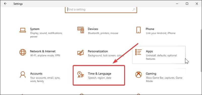 Open Time & Language in Windows 10 Settings