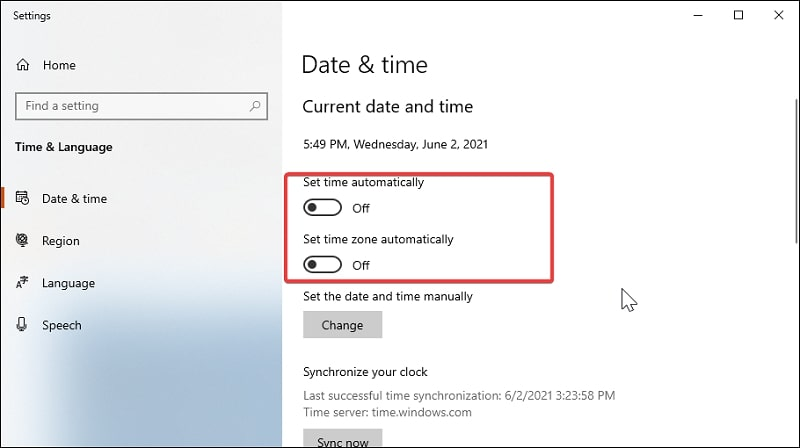 Disable Set time automatically and Set time zone automatically