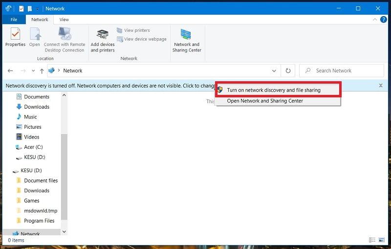 The turn on network discovery and file sharing option in Windows 10