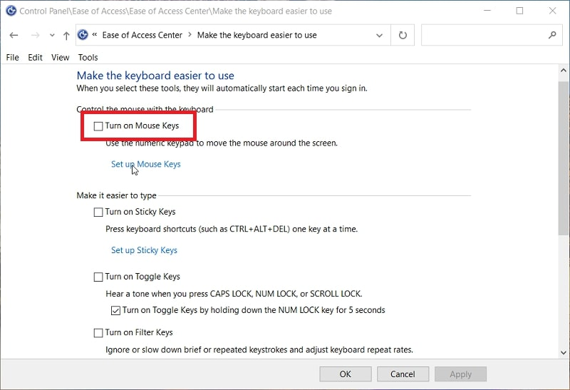 The Turn on Sticky Keys in Control Panel Windows 10