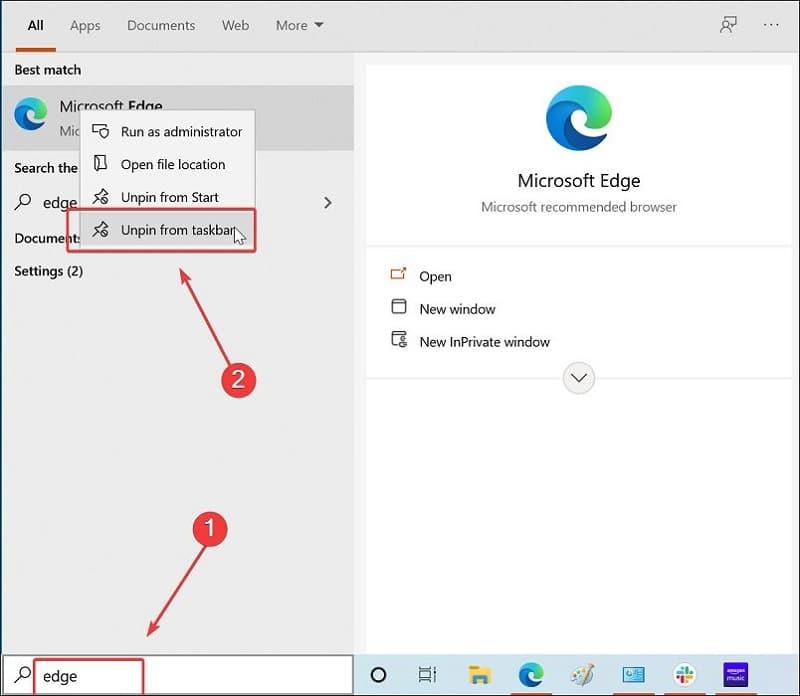Unpin Programs from Taskbar in Windows 10 via Search
