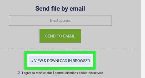 Clicking the View & Download button after the PDF file has been unsecured