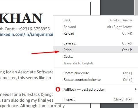 Choosing the print option in Google Chrome
