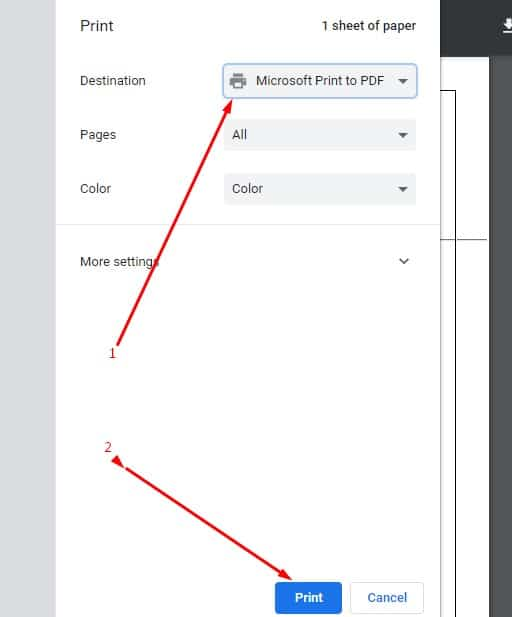 Choosing Microsoft Print to PDF option and then clicking on the Print button