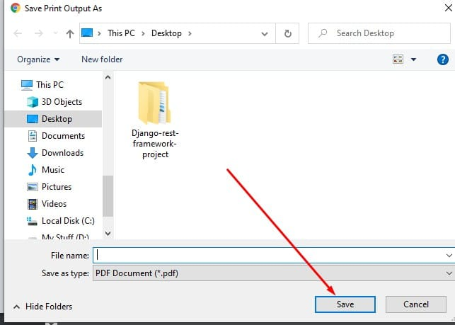 Choosing the location to save the unsecured PDF file