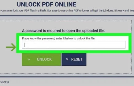 Entering secured PDF file password in the input dialog box of Soda PDF website