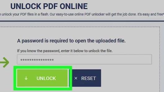 Clicking Unlock button on Soda PDF website