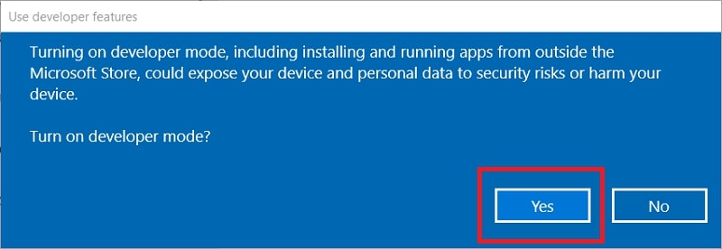 The Use developer features window in Windows 10