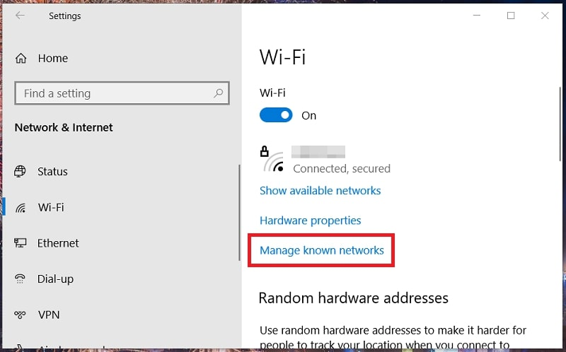 The Wi-Fi tab in Windows 10 settings