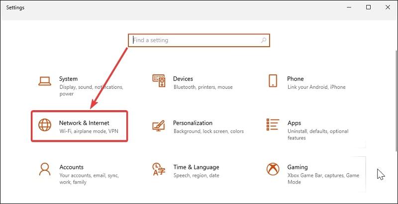 Choose Network & Internet in Settings Windows 10