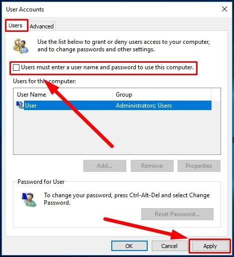 Windows 8 User Account dialog box