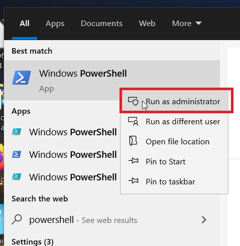 The Run as administrator option for PowerShell in Windows 10