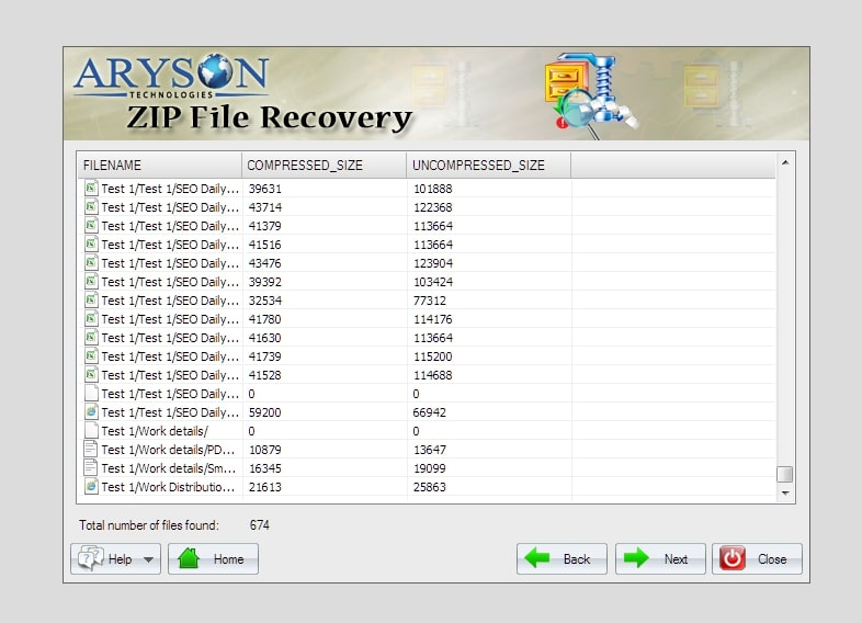 An Aryson ZIP File Repair file recovery preview