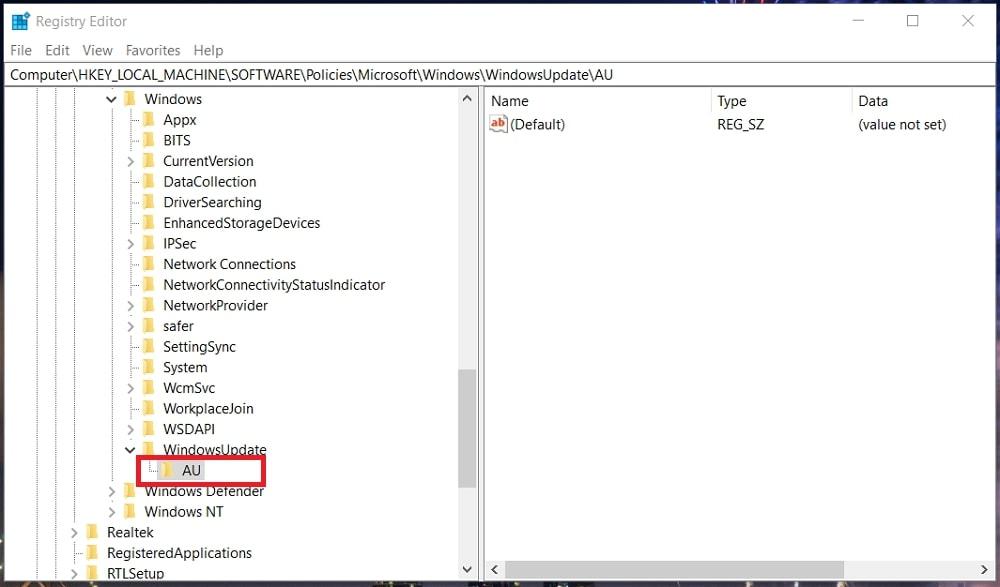 The AU registry key in Windows 10