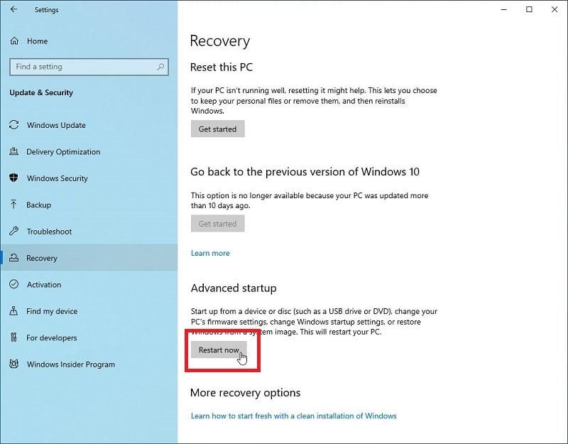 Restart now in Windows 10 settings