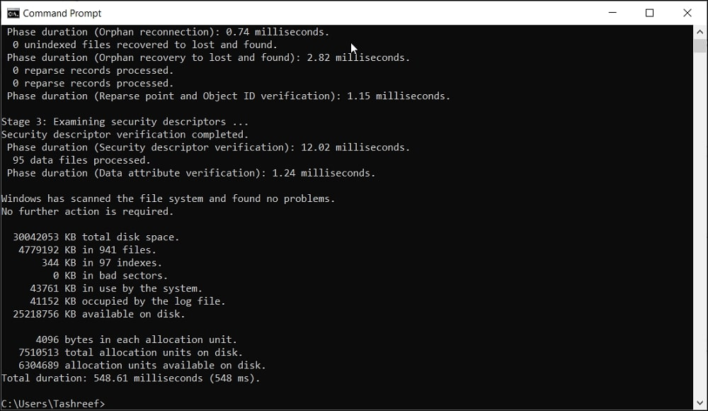 scan the USB drive using Command Prompt