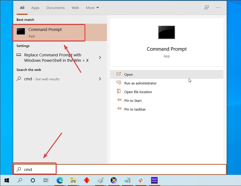 Open Command Prompt in Windows 10 by searching
